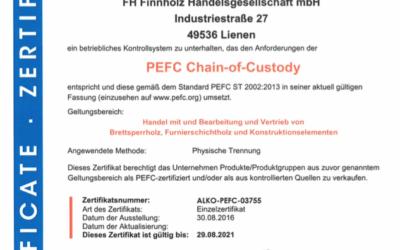PEFC Zertifikat für die FH Finnholz!
