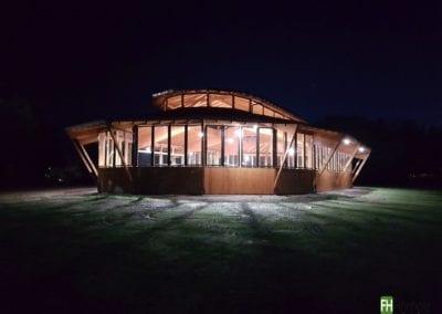 Reithalle Havixbeck bei Nacht  - Holzhalle FH Finnholz