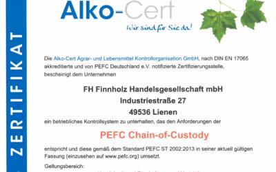 Erneute Zertifizierung im Bereich PEFC-CoC